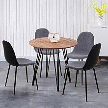 GOLDFAN Esstisch mit 4 Stühlen Rund Essgrupp