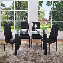GOLDFAN Esstisch und 4 Stühle, rechteckig,
