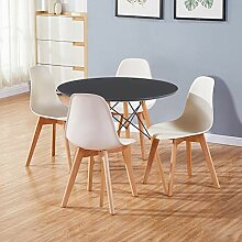 GOLDFAN Runder Esstisch mit 4 stühlen Moderner