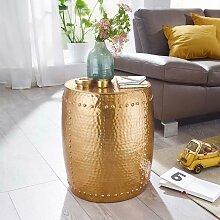 Goldfarbener Couchtisch aus Aluminium Hammerschlag