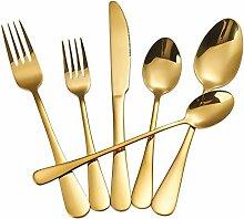 Goldfarbenes Besteck-Set, 24-teilig,