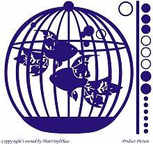 Goldfisch, Vogelkäfig, 32 x 29 cm, Farbe: Saphir Blau Badezimmer, Kinderzimmer, Kindern Raum Aufkleber, Vinyl, Fenster, Wandtattoo, Wall ThatVinylPlace Wandtattoo, Windows,