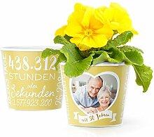 Goldhochzeit Blumentopf (ø16cm) | Geschenk zum 50. Hochzeitstag oder Dekoration für die goldene Hochzeit mit Herz-Rahmen für ein Foto (10x15cm) | Glücklich verheiratet seit 50 Jahren