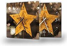 Goldstern - Lautlose Wanduhr mit Fotodruck auf Polycarbonat | geräuschlos kein Ticken Fotouhr Bilderuhr Motivuhr Küchenuhr modern hochwertig Quarz | Variante:30 cm x 30 cm mit schwarzen Zeigern - GERÄUSCHLOS