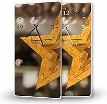 Goldstern - Moderne Wanduhr mit Fotodruck auf Polycarbonat   Fotouhr Bilderuhr Motivuhr Küchenuhr modern hochwertig Quarz, Variante:30 cm x 60 cm mit weißen Zeigern