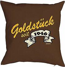 Goldstück seit 1946: Geburtstags/Jahrgangs-Kissenbezug/Dekobezug ohne Füllung - tolle Geschenkidee