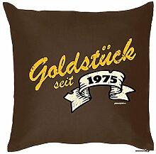 Goldstück seit 1975 : Kissen mit Füllung - Witziges Zusatzkissen, Kuschelkissen, 40x40 als Geschenkidee. Braun
