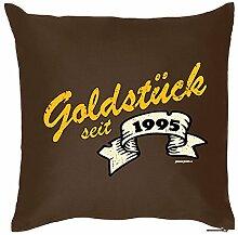 Goldstück seit 1995 : Kissen mit Füllung - Witziges Zusatzkissen, Kuschelkissen, 40x40 als Geschenkidee. Braun