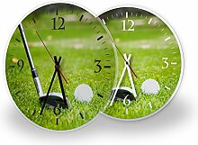 Golf - Moderne Wanduhr mit Fotodruck auf Polycarbonat   Fotouhr Bilderuhr Motivuhr Küchenuhr modern hochwertig Quarz, Variante:30 cm rund mit schwarzen Zeigern - GERÄUSCHLOS