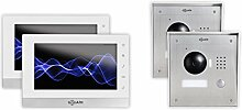 """GOLIATH IP 2 Draht Video Türsprechanlage, 1,3 Megapixel Kamera, 2x 7"""" Innen-Station, Smartphone Handy App, Gegensprechanlage, Video-Sprechanlage, 2x Aufputz Außenstation, Einfamilienhaus Se"""