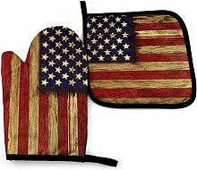 gong America Flag Vintage Holz K Aquarell Sommer