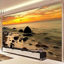 GONGFF Fototapete 3D Sunrise Seascape Steinwand