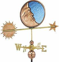 good Richtungen 678p gebeizt Glas Moon Wetterfahne, Kupfer polier