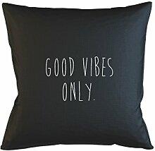 Good Vibes Only Happy Positive Friendly Kissenbezug Haus Sofa Bett Dekor Schwarz