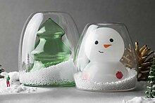 Goodglas Doppelwandiges Glas-Set mit Schneemann