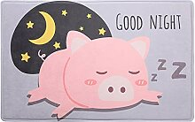 GOODJIA Mat Cartoon Schwein Gepolstert Flanell