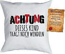 Goodman Design ® Kinder/Deko-Kissen inkl. Spaß-Urkunde Thema lustige Sprüche: Achtung dieses Kind trägt noch Windeln - Geschenkidee