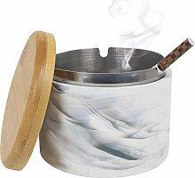 Goodquan Aschenbecher mit Deckel, Keramik,