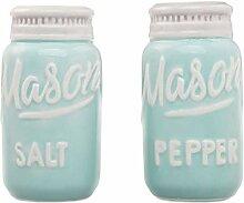 Goodscious Blue Mason Jar Salz- und Pfefferstreuer