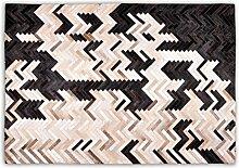 Goodsmania Designer Patchwork Kuhfell-Teppich - B120 x L180cm - creme beige braun schwarz Fischgrät genäh