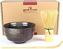 Goodwei Japanisches Matcha-Set, 3-teilig (Schwarz)