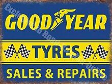 Goodyear Reifen Verkauf & Repariert Vintage Garage Metall/Stahl Wandschild - 20 x 30 cm