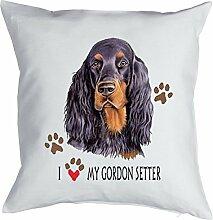 Gordon Setter Kissen mit Innenkissen - Geschenk Hundefreund Hundebesitzer - Hunde Motiv I love my Gordon Setter - Deko u Nutzkissen 40x40cm weiß : )