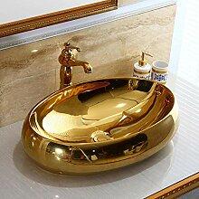 Gorheh Oval Gold Farbe Bad Garderobe Keramik