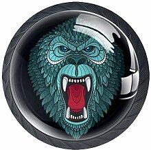 Gorilla Head Schrankknöpfe aus ABS-Glas, für