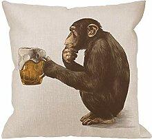 Gorilla Kissenbezug,Throw Pillow Monkey Sitting