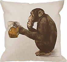 Gorilla Kissenbezug/Überwurfkissen, AFFE, sitzend