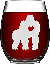 Gorilla-Kristall-Weinglas, ohne Stiel, graviertes