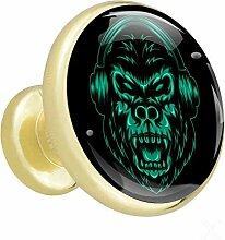 Gorilla Rock Green Gold 4 Möbelknöpfe Metall und