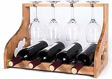 GORLARY Weinregal Arbeitsplatte mit Glashalter,