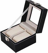 Gosear 2 Slot PU Handgelenk Uhr Anzeige Box Fall Lagerung Halter Veranstalter Ausstellung Haus Dekoration