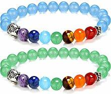 Gosear 2 Stk 2 Stil Unisex Natürliche Stein 7 Chakren Edelstein Perlen Armband Yoga Reiki Gebet Energie Heilung Balance Armband Schmuck