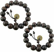 Gosear 2 Stk Männer Frauen Holz Buddhistischen Gebet Perlen Armbänder mit Retro Kupfer Münze Ornament 12 mm 0.47 Zoll Bead Durchmesser