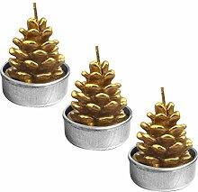 Gosear 3 Stk Handmade Zarten Dekoration Kerzen Teelichthalter Rauchlosen für Merry Weihnachten Xmas Party Startseite Decor Cone-Stil