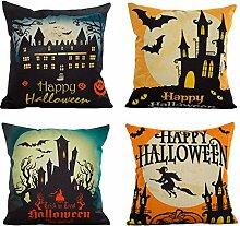 Gosear 4 Stk Flachs Halloween Spooky Bat Dekorative Werfen Kissen Cover Fall Kissenbezug Halloween Dekoration Liefert 45 x 45 cm