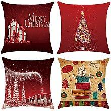Gosear 4 Stk Flachs Merry Weihnachten Serie Dekorative Werfen Kissen Cover Fall Kissenbezug Weihnachten Xmas Dekoration 45 x 45 cm