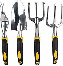 Gosear 4 STK Garten Hand Werkzeuge Schaufeln Gabeln Harrow für Anbau von Graben Unkraut jäten Boden Lösen Belüften Umpflanzen