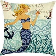 Gosear 45 x 45cm Einseitig Flachs Meerjungfrau Muster Werfen Kissen Abdeckung Fall Kissen Kissenbezug Haus Büro Sofa Dekoration A
