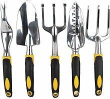 Gosear 5 Stk Garten Hand Werkzeuge Schaufeln Gabeln Harrow für Anbau von Graben Unkraut jäten Boden Lösen Belüften Umpflanzen