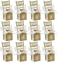 Gosear 50 Stk Stuhl Geformt Hochzeit Partei Geschenk Zugunsten Candy Im Multifunktionsleiste Bow Anhänger Goldene