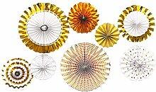 Gosear 8 Stk DIY Runde Rad Dekorative Papier Fans für Partei Festival Geburtstag Hochzeit Ereignis Startseite Dekoration Goldene
