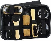 Gosear 8 Stück Leder Schuh Glanz Pflege Schuhe Polnisch Kit mit Lagerung Fall Schwarz Transparente Polnisch Bürste Werkzeug
