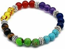 Gosear 8mm Perle Durchmesser Unisex 7 Chakren Edelstein Perlen Armband Lava Stil Yoga Reiki Gebet Energie Heilung Balance Schmuck