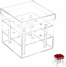 Gosear 9 Loch Klar Acryl Rose Blume Feld Vase Halter Cube Topf Tabelle Dekoration für Hochzeit Partei