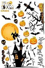 Gosear Halloween Party Kürbis Vogelscheuche Aufkleber Dekoration Wasserdichte Fenster Aufkleber Wandtattoo