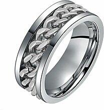 Gosear Männer Cool Mode Anti-Faden Dauerhafte Titan Stahl Finger Ring mit Kette Ornament Wunderbar Geschenk 10